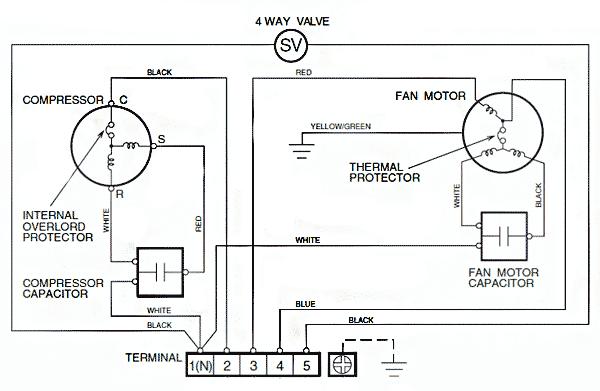 Электрическая схема внешнего блока неинверторного кондиционера